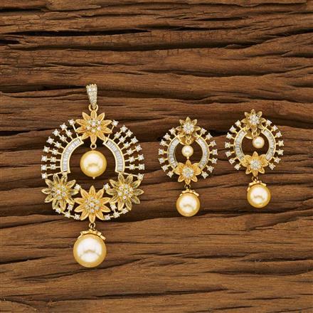 53388 CZ Classic Pendant Set with gold plating
