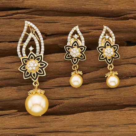 53389 CZ Classic Pendant Set with gold plating