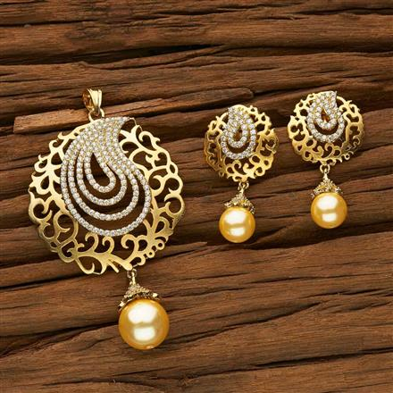 53390 CZ Classic Pendant Set with gold plating