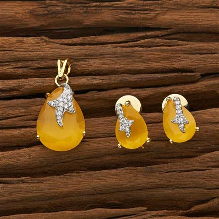 53393 CZ Classic Pendant Set with 2 tone plating