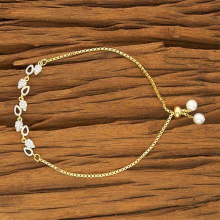 53426 CZ Adjustable Bracelet with 2 tone plating