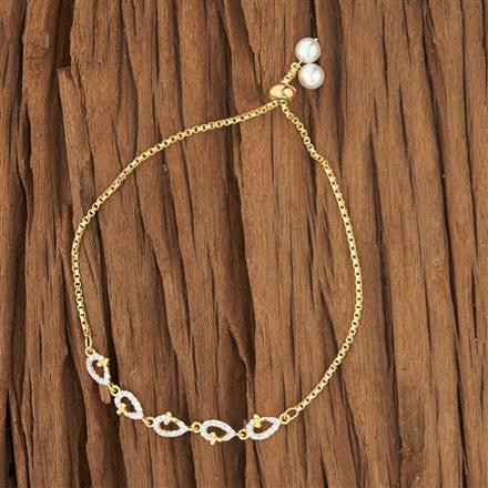 53429 CZ Adjustable Bracelet with 2 tone plating