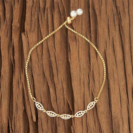 53431 CZ Adjustable Bracelet with 2 tone plating