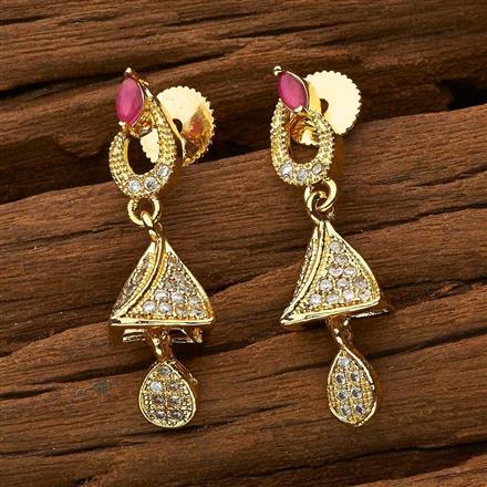 53448 American Diamond Jhumki with gold plating