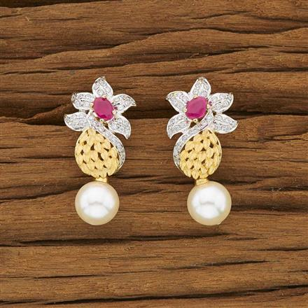 53449 CZ Short Earring with 2 tone plating