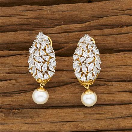 53451 CZ Short Earring with 2 tone plating
