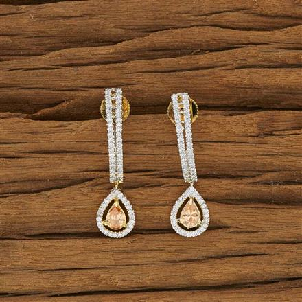 53453 CZ Short Earring with 2 tone plating