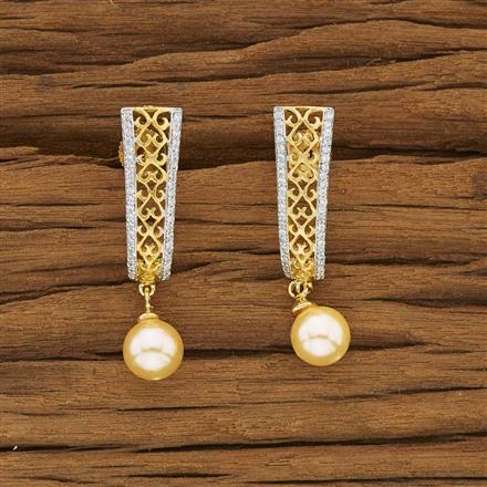 53454 CZ Short Earring with 2 tone plating