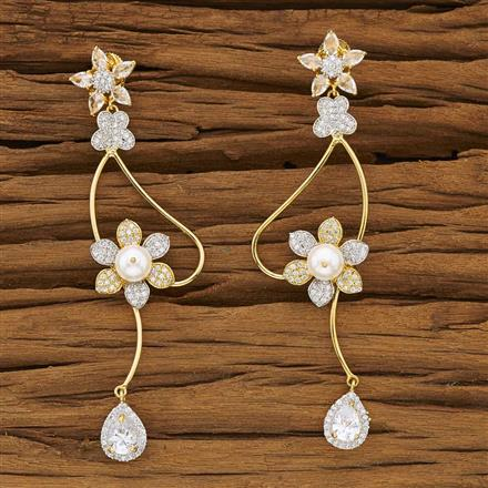 53457 CZ Classic Earring with 2 tone plating