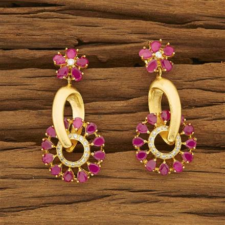 53458 CZ Short Earring with gold plating