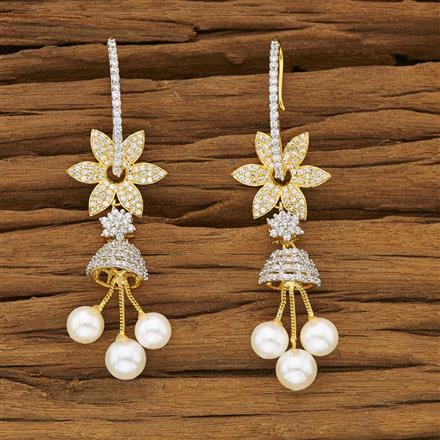 53463 American Diamond Jhumki with 2 tone plating