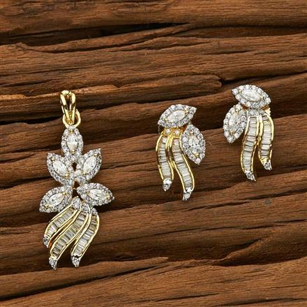 53465 CZ Classic Pendant Set with 2 tone plating
