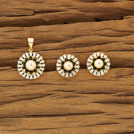 53470 CZ Classic Pendant Set with gold plating