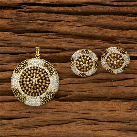 53474 CZ Classic Pendant Set with gold plating
