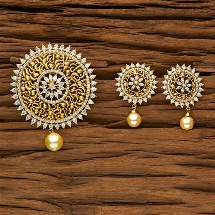 53475 CZ Classic Pendant Set with gold plating