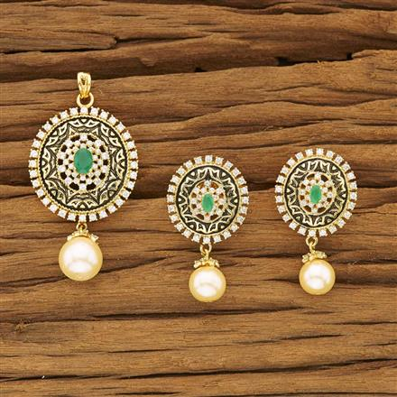 53476 CZ Classic Pendant Set with gold plating