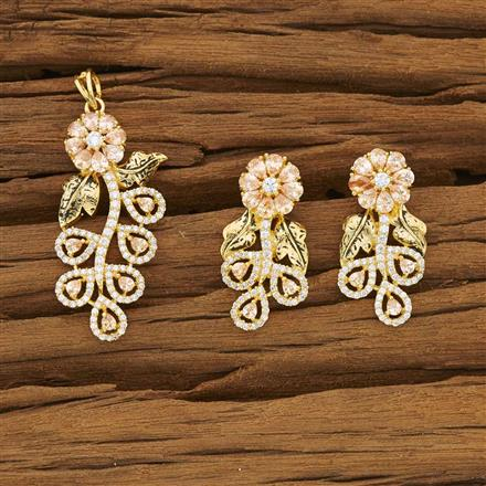 53477 CZ Classic Pendant Set with gold plating