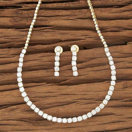 53484 CZ Delicate Necklace with 2 tone plating
