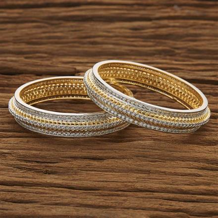 53493 CZ Classic Bangles with 2 tone plating