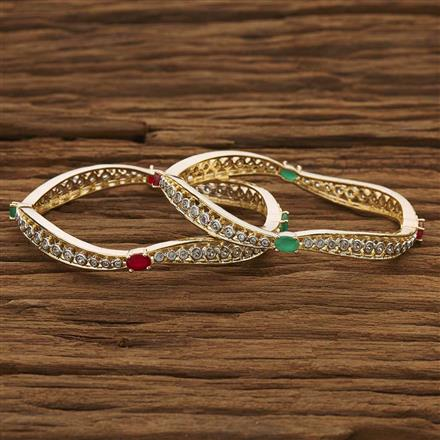 53495 CZ Classic Bangles with 2 tone plating