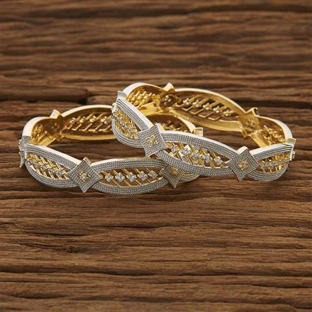 53550 CZ Classic Bangles with 2 tone plating