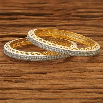 53560 CZ Classic Bangles with 2 tone plating