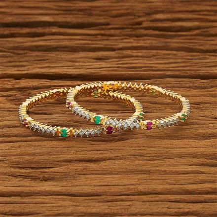 53565 CZ Classic Bangles with 2 tone plating