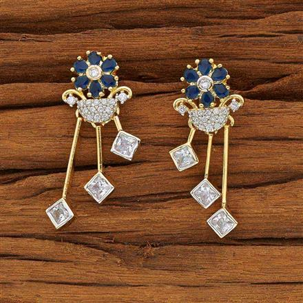 53588 CZ Short Earring with 2 tone plating