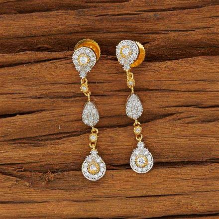 53592 CZ Short Earring with 2 tone plating