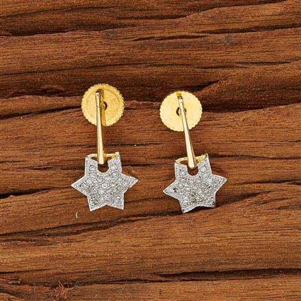 53593 CZ Short Earring with 2 tone plating