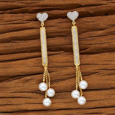 53597 CZ Classic Earring with 2 tone plating
