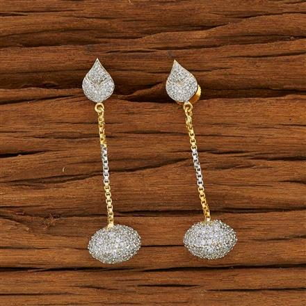 53599 CZ Short Earring with 2 tone plating