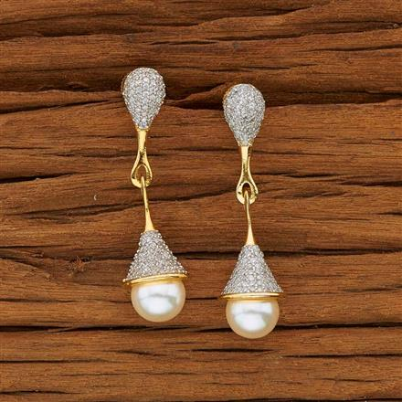 53600 CZ Short Earring with 2 tone plating