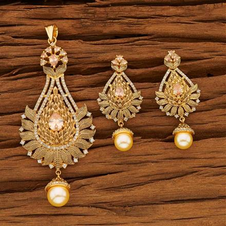 53605 CZ Classic Pendant Set with gold plating