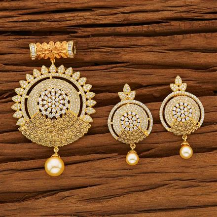 53607 CZ Classic Pendant Set with gold plating