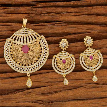 53608 CZ Classic Pendant Set with gold plating