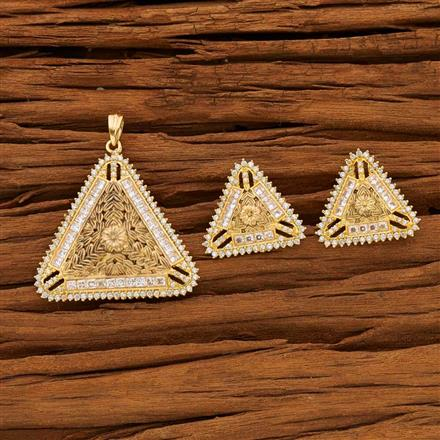 53609 CZ Classic Pendant Set with gold plating