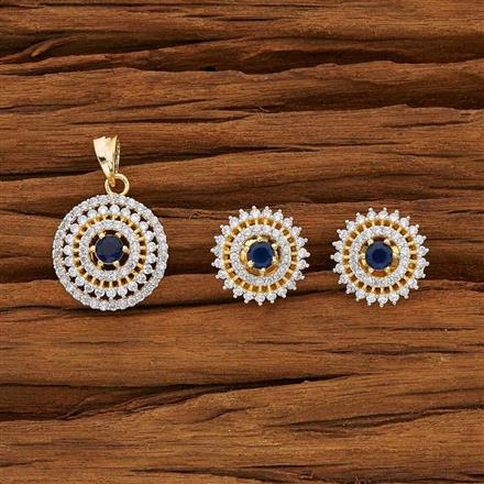 53610 CZ Delicate Pendant Set with 2 tone plating