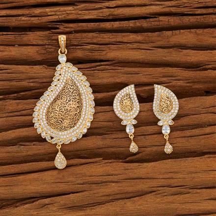 53611 CZ Classic Pendant Set with gold plating