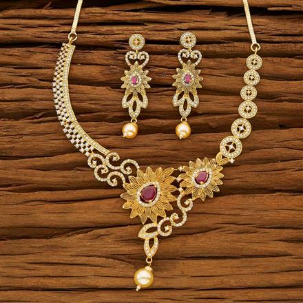 53618 CZ Classic Necklace with gold plating
