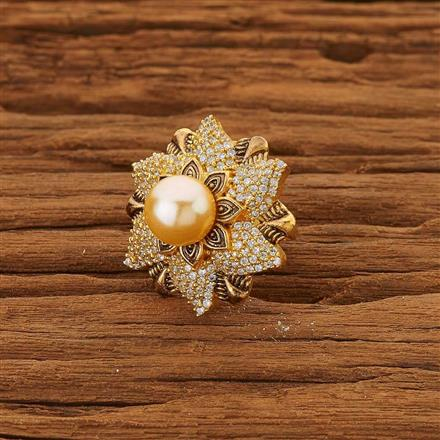 53660 CZ Classic Ring with gold plating