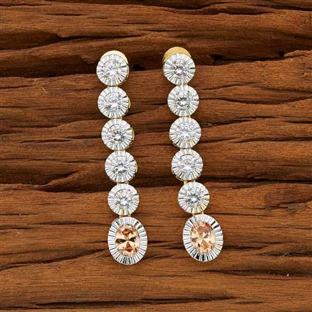 53714 CZ Long Earring with 2 tone plating