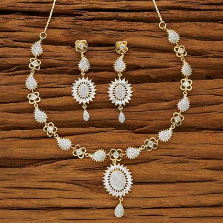 53719 CZ Classic Necklace with 2 tone plating