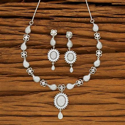 53720 CZ Classic Necklace with rhodium plating
