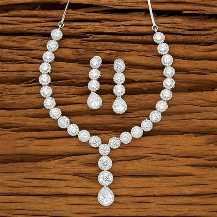 53723 CZ Classic Necklace with rhodium plating