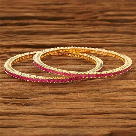 53728 CZ 2 Pc Bangle with gold plating