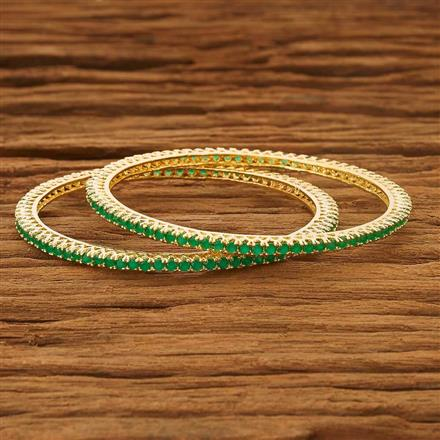 53729 CZ 2 Pc Bangle with gold plating