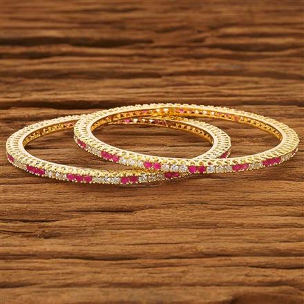 53730 CZ 2 Pc Bangle with gold plating