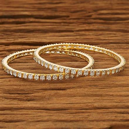 53731 CZ 2 Pc Bangle with 2 tone plating