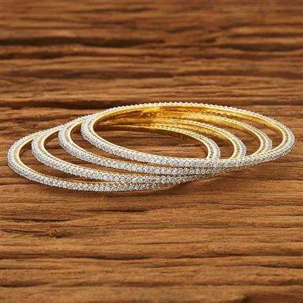 53732 CZ 4 Pc Bangle with 2 tone plating